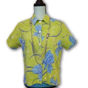 CLIO Vintage 80s Hawaiian Button Down Shirt Sz PL